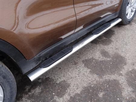 Kia Sportage 2016-Пороги овальные с накладкой 120х60 мм